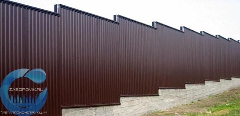 Профнастил окрашенный для забора цена распашные ворота 60 тыс